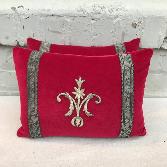 Red Appliqued Pillows - a Pair - Image 2 of 6