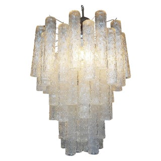 Mid Century Venini Style Murano Glass Tronchi Chandelier For Sale