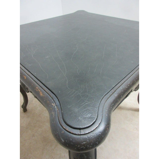 1980s Antique Italian Regency Carved Leather Top Game Table For Sale - Image 5 of 9