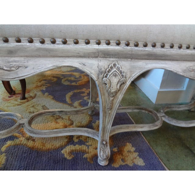 French Louis XIV Style Painted Bench For Sale - Image 4 of 8