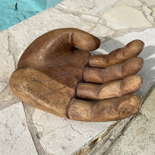 1960s Mid Century Wooden Human Hand Sculpture For Sale - Image 9 of 12