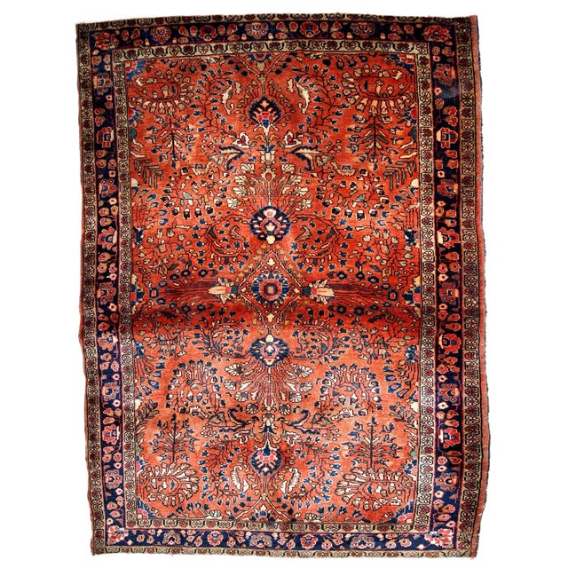 1920s, Handmade Antique Persian Sarouk Rug 3.5' X 5.5' For Sale
