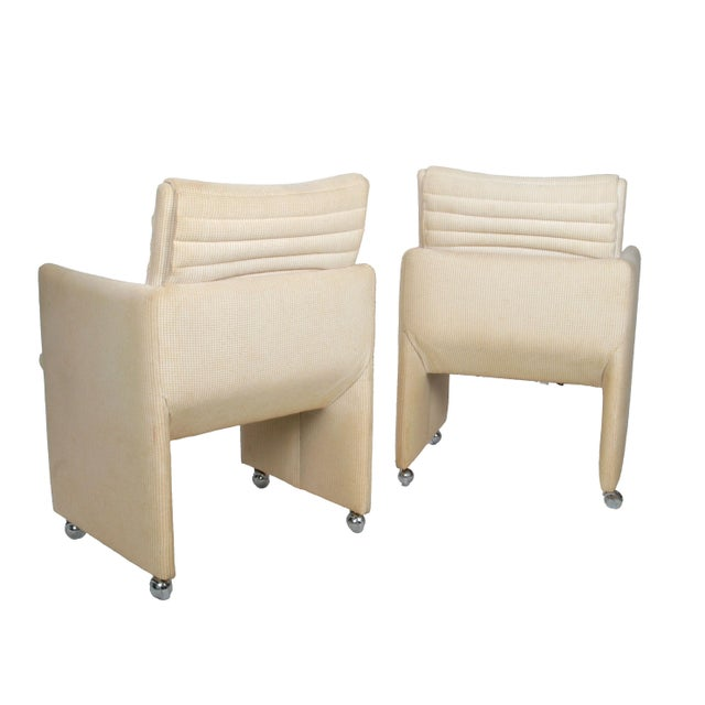 Milo Baughman Armchairs on Casters - Pair For Sale In Miami - Image 6 of 7