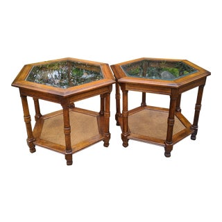 Mid-Century Modern Walnut Octagonal Glass Top & Cane Bottom Drum End Tables - a Pair For Sale