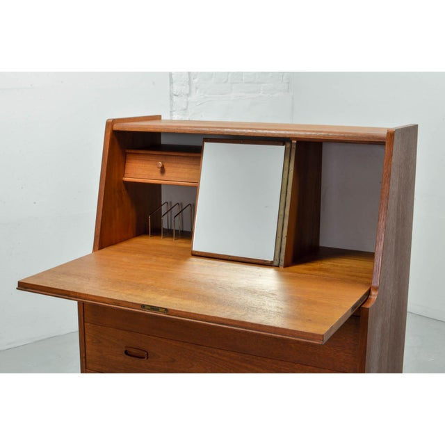 1960s Mid-Century Scandinavian Design Teak Writing Desk, Scandinavia, 1960s For Sale - Image 5 of 11