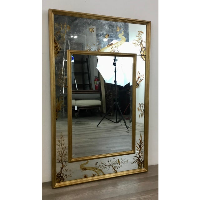 Original Retail $2200, elegant Made Goods Asian Chinoiserie Eloise Wall Mirror, gold finished wood frame, hand painted...
