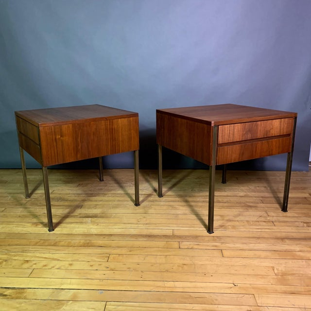 Mid-Century Modern Pair Edmund Spence Walnut and Brass End Tables, Sweden 1945 For Sale - Image 3 of 11