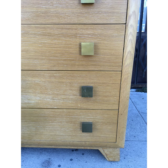 Tan 1940s Art Deco Oak Highboy Chest of Drawers For Sale - Image 8 of 13