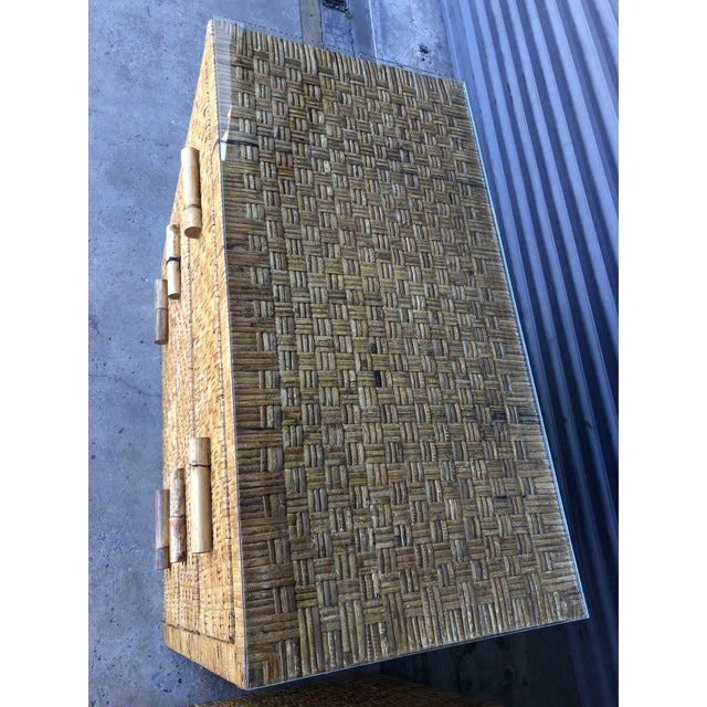 Vintage Woven Wrapped Rattan Chests- a Pair For Sale - Image 10 of 13