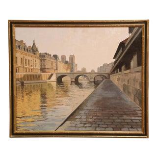 """Framed Paris Painting """"Matin Sur Les Berges De Seine"""" Signed R. Pettinari 2012 For Sale"""