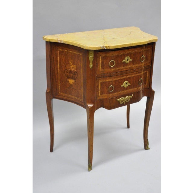 Louis XV French Louis XV Style Inlaid Marble Top Bombe Nightstand For Sale - Image 3 of 11
