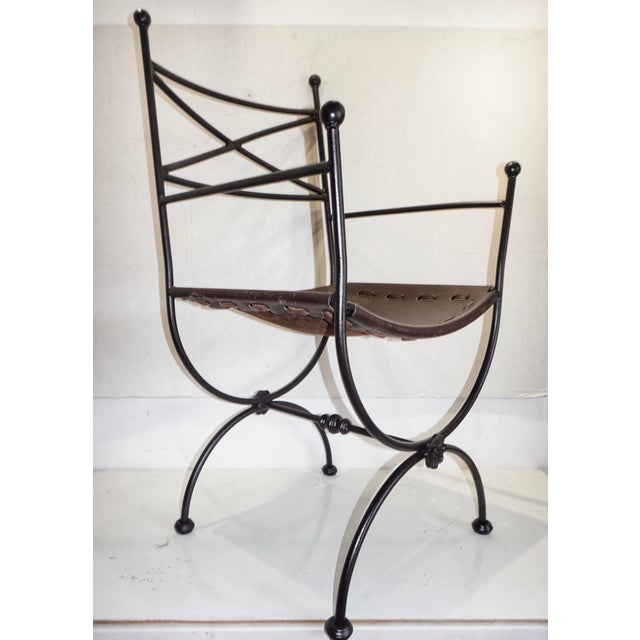 Brown 1960s Vintage Italian Iron and Leather Curule Chairs - A Pair For Sale - Image 8 of 10