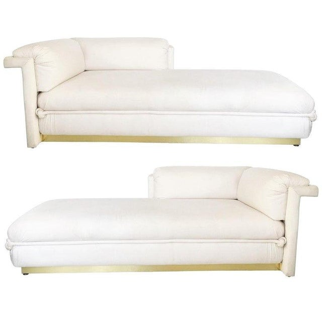 Two French Art Deco Chaise Lounges with Brass Base For Sale - Image 10 of 10
