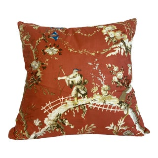 Brunschwig & Fils Coral Chinoiserie Pillow For Sale