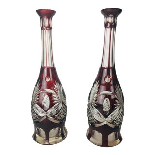 Early 20th Century Cranberry Red Bohemian Crystal Cut Glass Decanters - a Pair For Sale