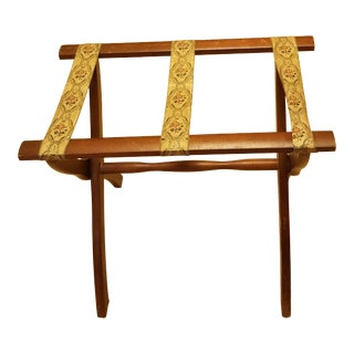 Mid Century Hollywood Regency Wooden Folding Luggage Valet-Stand For Sale
