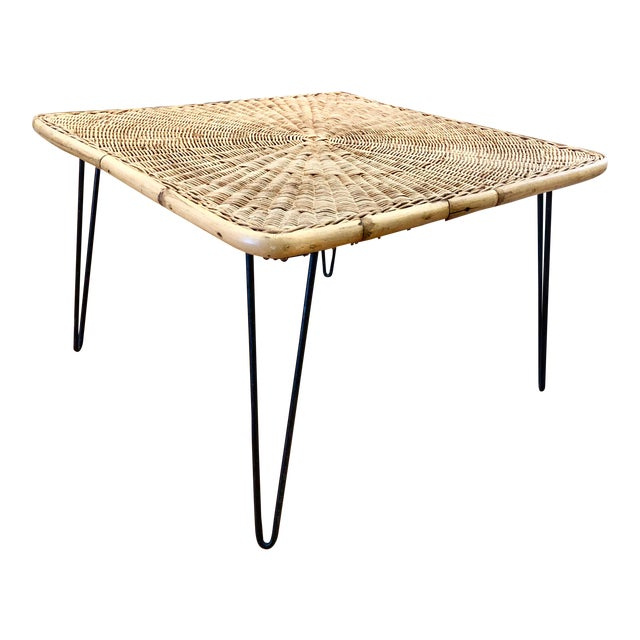 Mid Century Modern Wicker Coffee Table With Hairpin Legs For Sale