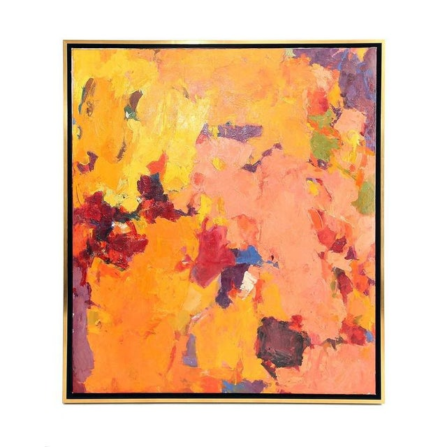 Paint 1957 Abstract Multi-Color Framed Oil on Canvas Painting by Carol Haerer For Sale - Image 7 of 9