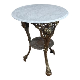 Beautiful Vintage Brass Pub Bistro Table With Round Marble Top For Sale