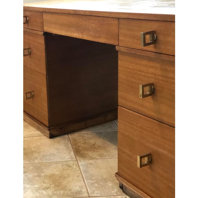 """1950s Mid Century Blonde Wood Double Pedestal Desk 1.75"""" Square Brass Pulls For Sale - Image 5 of 11"""
