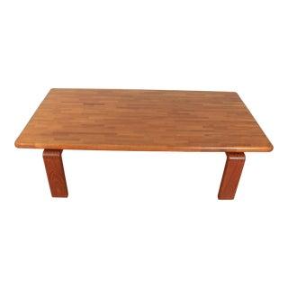 Vintage Solid Teak Coffee Table For Sale