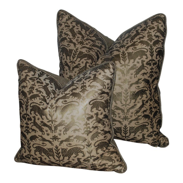 Greyana Hand Stamped Leather Pillows - A Pair For Sale
