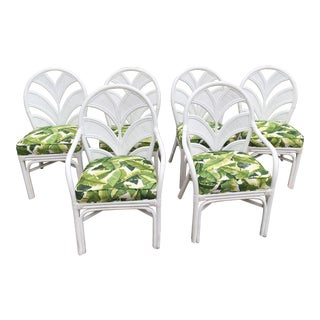 Hollywood-Regency Rattan Palm Frond Chairs - Set of 6