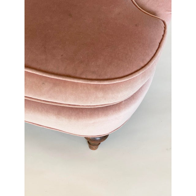Textile 1940's Vintage Pink Easy Lounge or Slipper Chairs in Velvet - a Pair For Sale - Image 7 of 10