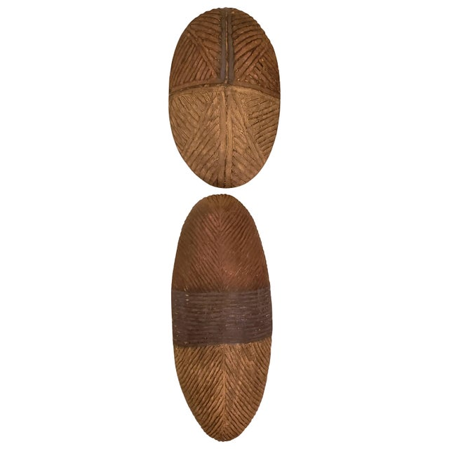 Brown Dissimilar Decorative African Shields - Set of 2 For Sale - Image 8 of 8