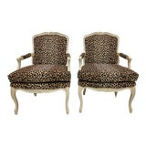 Image of Pair of French Style Bergere Chairs in Leopard For Sale