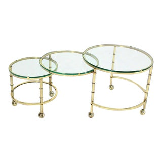 Mid-Century Modern Solid Brass Faux Bamboo Expansion Folding Nesting Tables Set For Sale