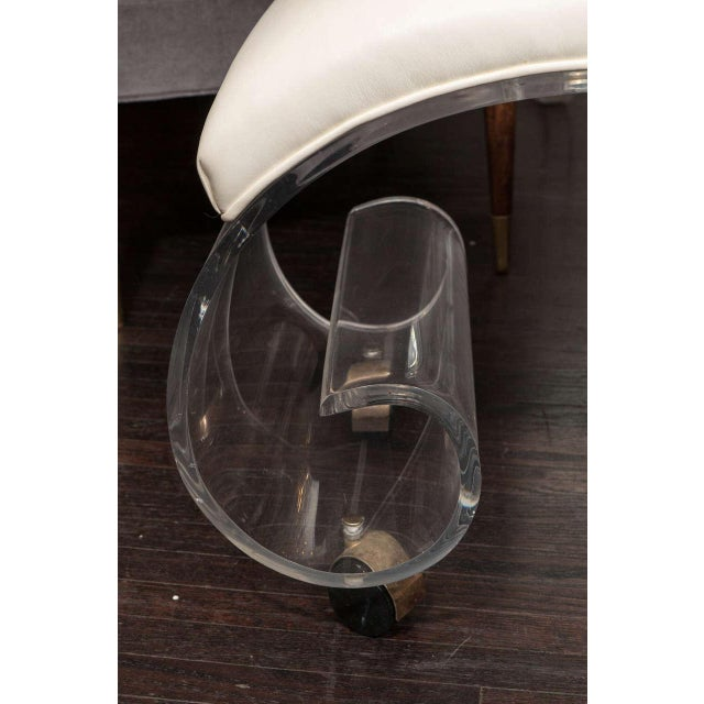 1970s curved Lucite stool with white vinyl cushion