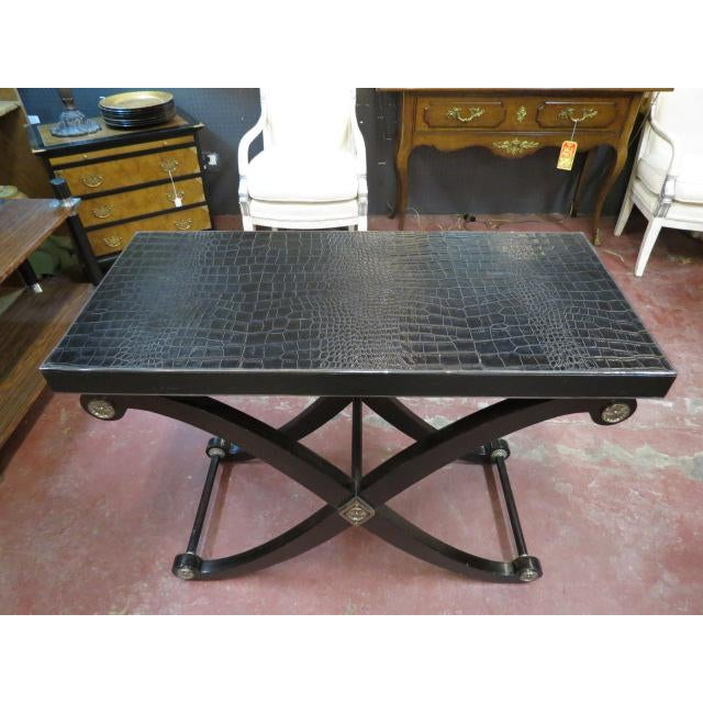 Neoclassical 1990s Neoclassical Maitland-Smith X Base Bar Table/Console Table For Sale - Image 3 of 9