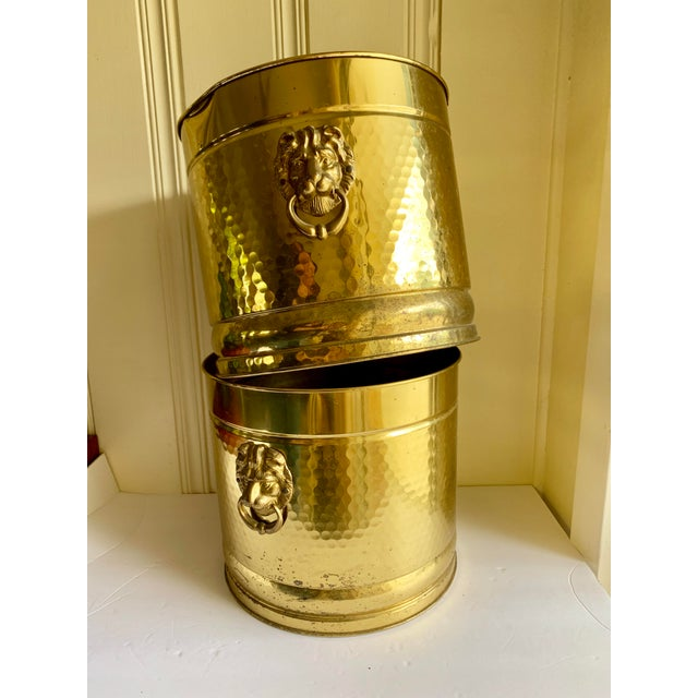 Gold Metal Lion Head Vessels, Set of Two For Sale - Image 9 of 13