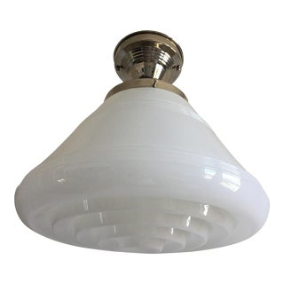 Modern Milk Glass Flush Light For Sale