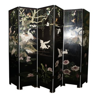 1940s Vintage Asian Folding Screen For Sale