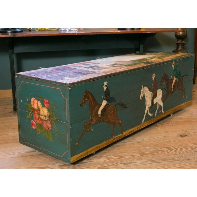 Early American Blanket Chest with Equestrian Scene Hand-Painted by American Folk Artist Lew Hudnall For Sale - Image 3 of 8