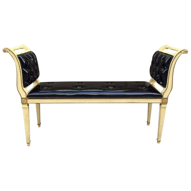 Painted Louis XIV Style Tufted Window Bench For Sale