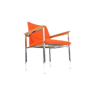 Sigvard Bernadotte Danish Modern Oak + Chrome Lounge Chair For Sale