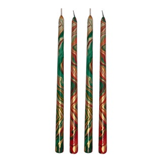 """Autumn 14"""" Marbleized Taper Candles, Set of 4 For Sale"""