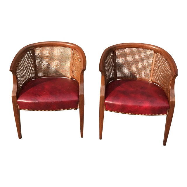 Leather Amp Cane Vintage Accent Hickory Furniture Club