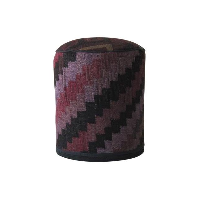 Vintage Purple/Black Turkish Kilim Stool - Image 1 of 3