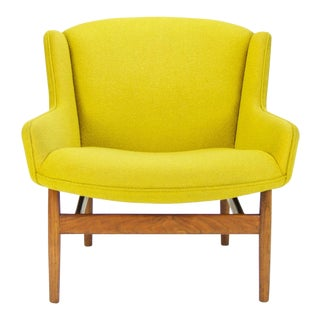 Rare Jens Risom Yellow Low Wing Back Armchair