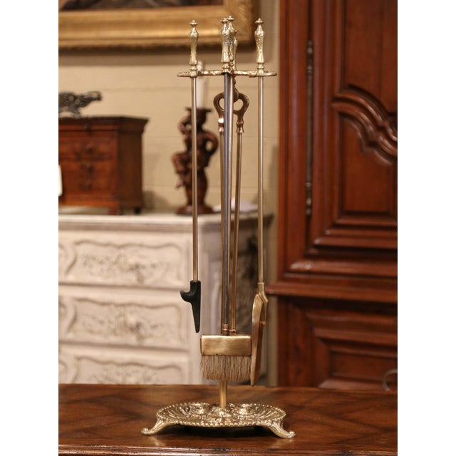 Place this elegant antique fireplace tool set next to your mantel. Crafted circa 1880 in southwest France, the bronze...
