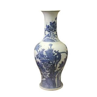 Chinese Vintage Blue White Porcelain Flower Birds Vase For Sale