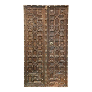 Antique Indian Teak Wood Doors - a Pair For Sale