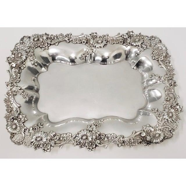 """Theodore B. Starr 14.5"""" Sterling Sandwich Tray C.1880s For Sale - Image 11 of 11"""