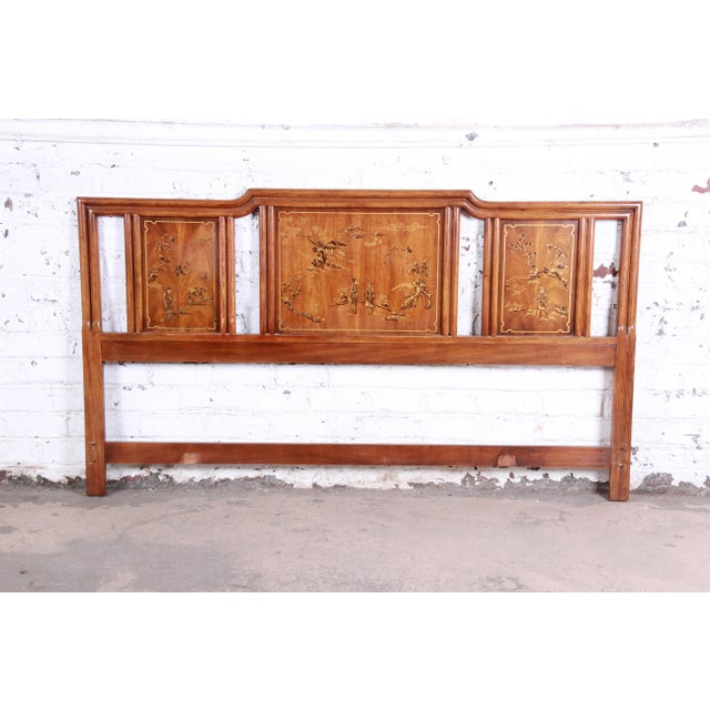 Drexel Heritage Hollywood Regency Chinoiserie King Size Headboard For Sale In South Bend - Image 6 of 6