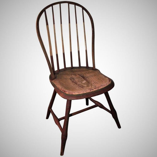 This rare 1800-1820 Windsor chair is a great find. With all original paint this patina is amazing. Windsor chair is strong...