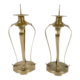 Pair of Japanese Brass Candlesticks For Sale